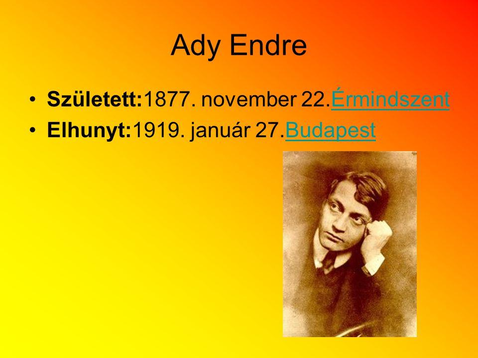 Ady Endre Született:1877. november 22.Érmindszent