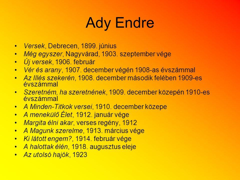 Ady Endre Versek, Debrecen, 1899. június
