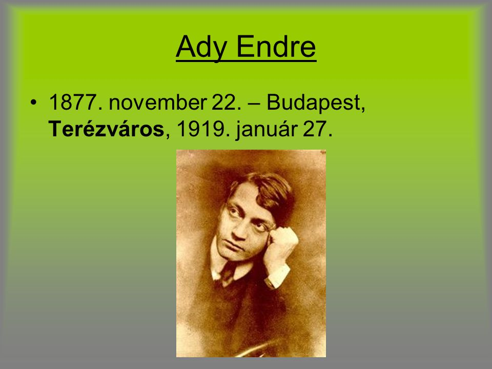 Ady Endre 1877. november 22. – Budapest, Terézváros, 1919. január 27.