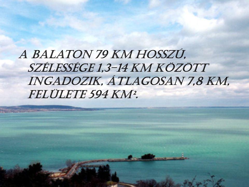 A Balaton 79 km hosszú, szélessége 1,3–14 km között ingadozik, átlagosan 7,8 km, felülete 594 km².
