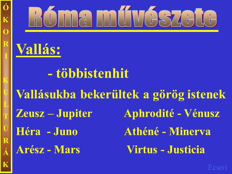 Róma művészete Vallás:
