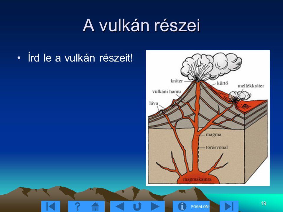 A vulkán részei Írd le a vulkán részeit! 9