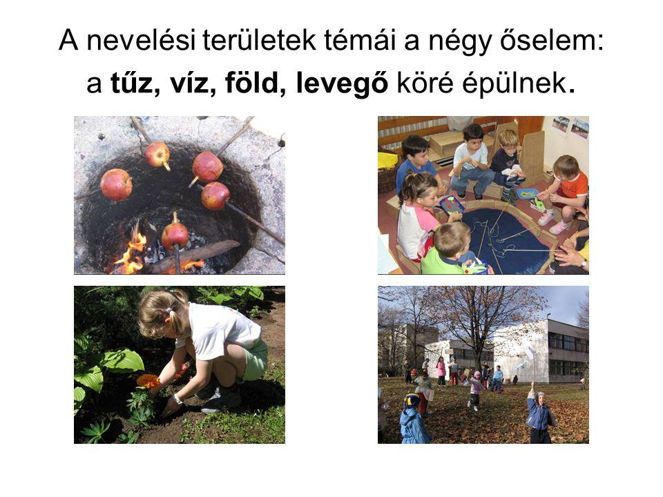 A nevelési területek témái a négy őselem: a tűz, víz, föld, levegő köré épülnek.