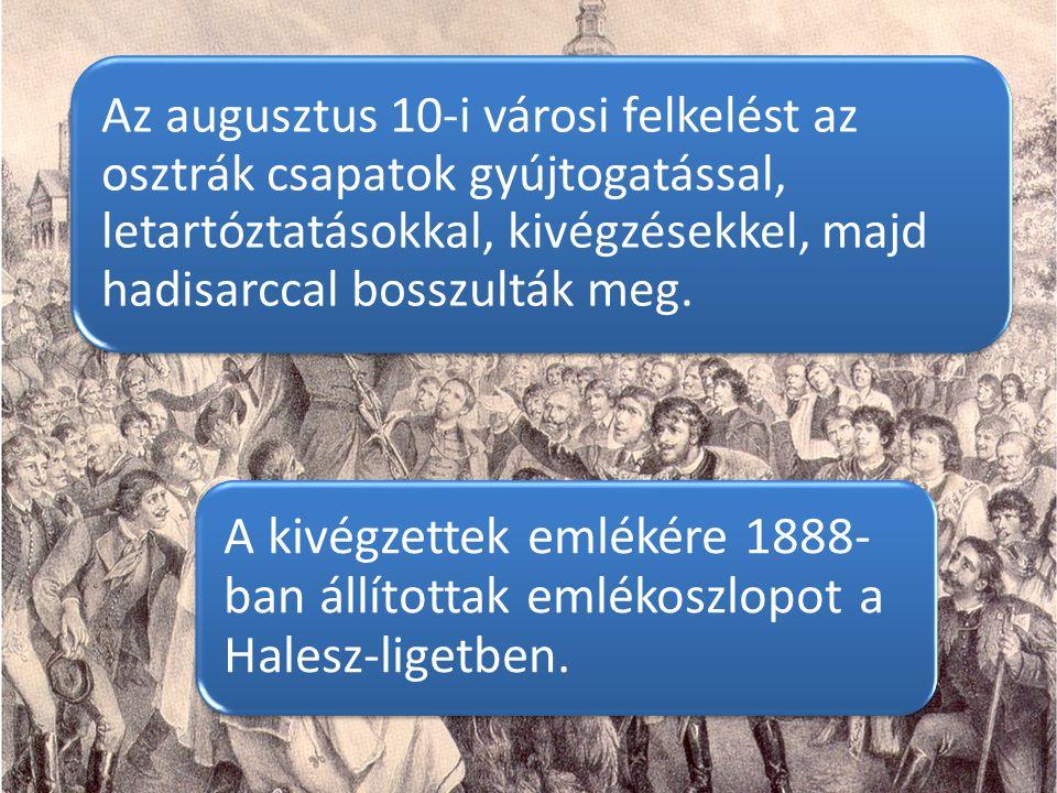 Az augusztus 10-i városi felkelést az osztrák csapatok gyújtogatással, letartóztatásokkal, kivégzésekkel, majd hadisarccal bosszulták meg.