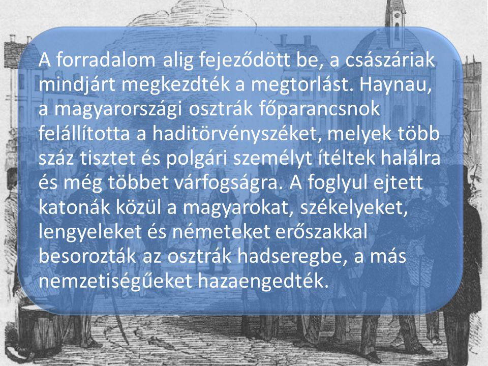 A forradalom alig fejeződött be, a császáriak mindjárt megkezdték a megtorlást. Haynau, a magyarországi osztrák főparancsnok felállította a haditörvényszéket, melyek több száz tisztet és polgári személyt ítéltek halálra és még többet várfogságra.