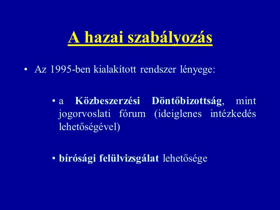 A hazai szabályozás Az 1995-ben kialakított rendszer lényege: