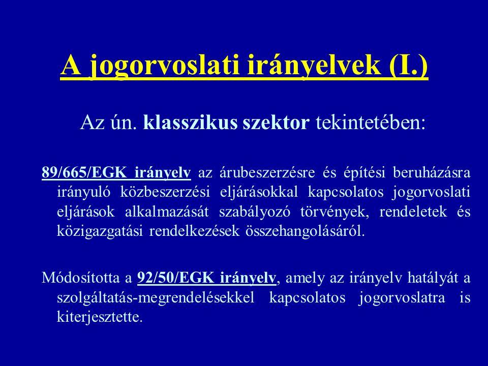 A jogorvoslati irányelvek (I.)