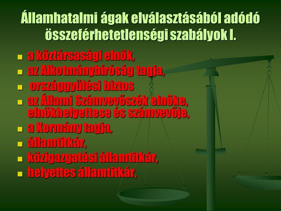 Államhatalmi ágak elválasztásából adódó összeférhetetlenségi szabályok I.