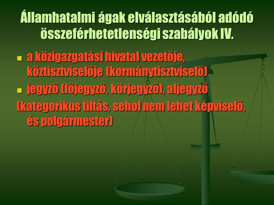 Államhatalmi ágak elválasztásából adódó összeférhetetlenségi szabályok IV.