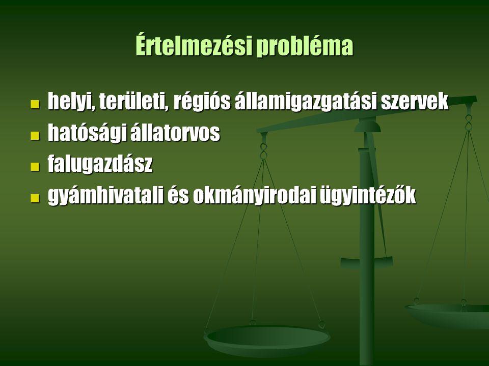 Értelmezési probléma helyi, területi, régiós államigazgatási szervek