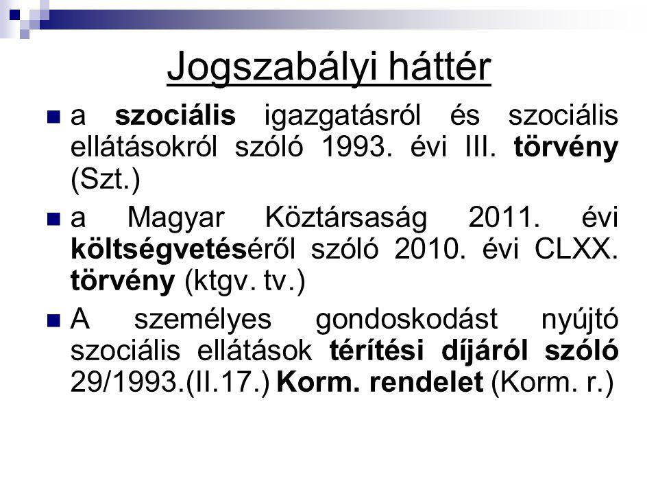 Jogszabályi háttér a szociális igazgatásról és szociális ellátásokról szóló 1993. évi III. törvény (Szt.)