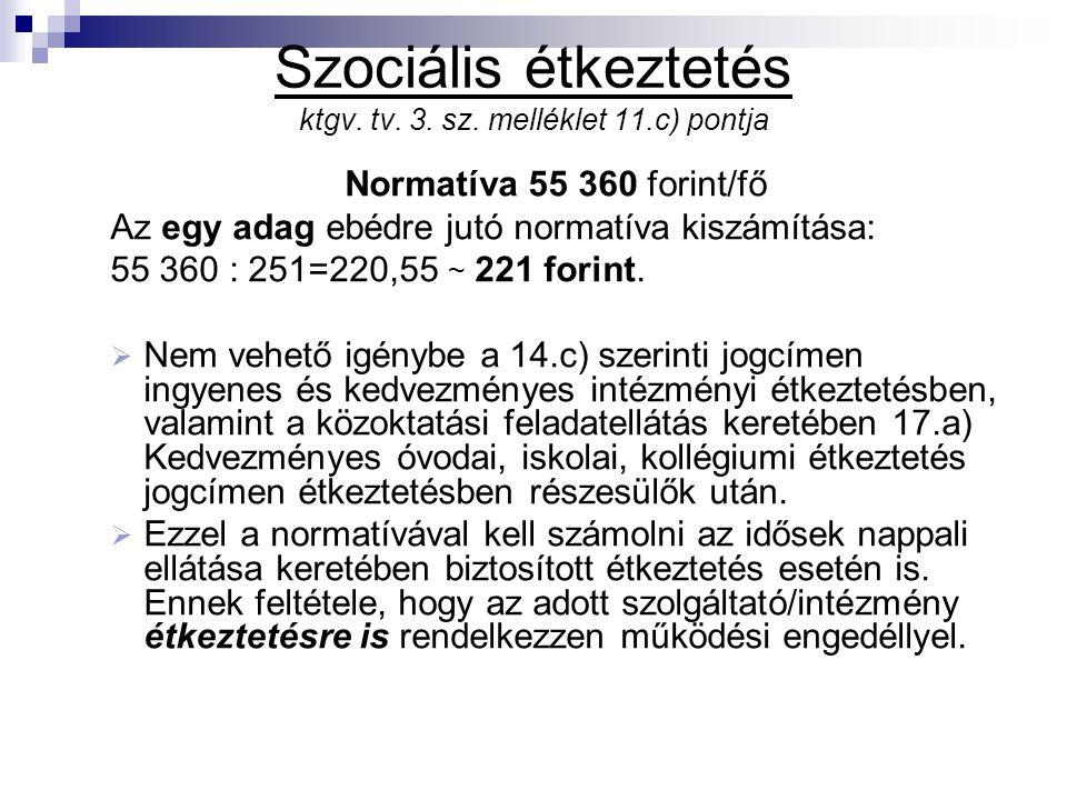 Szociális étkeztetés ktgv. tv. 3. sz. melléklet 11.c) pontja