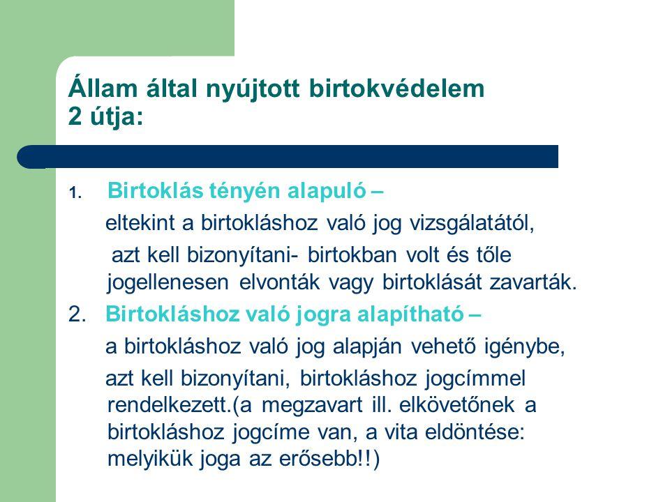 Állam által nyújtott birtokvédelem 2 útja: