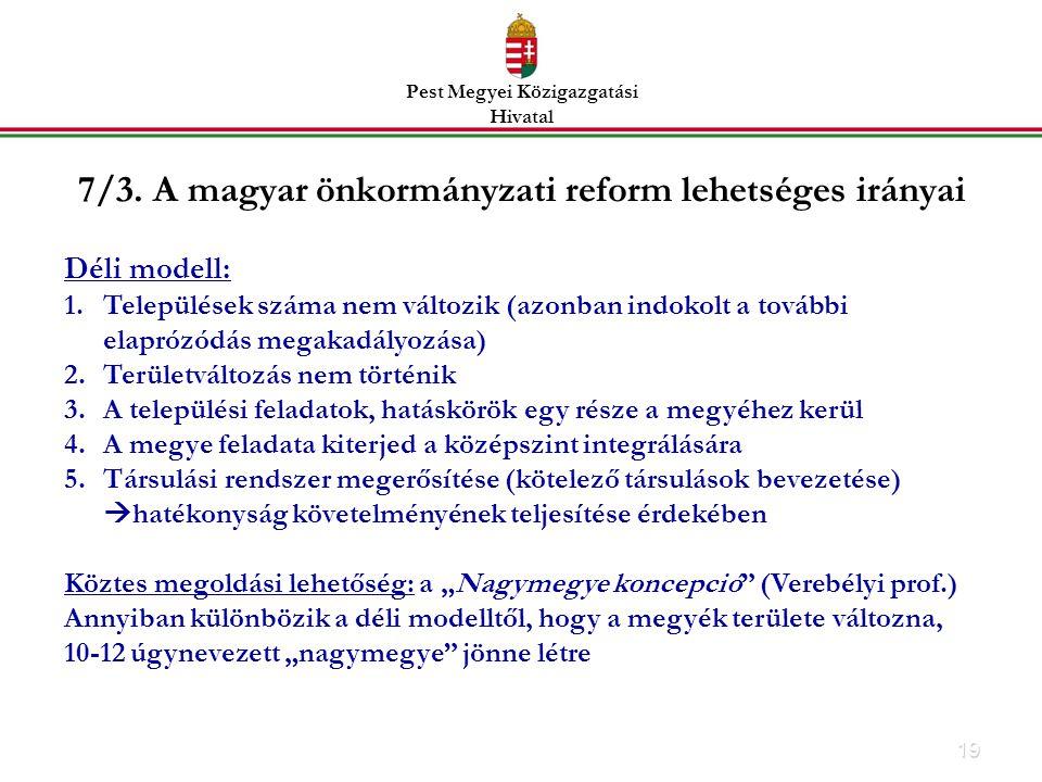 7/3. A magyar önkormányzati reform lehetséges irányai