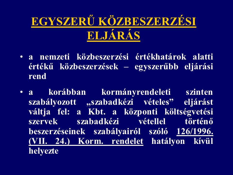 EGYSZERŰ KÖZBESZERZÉSI ELJÁRÁS