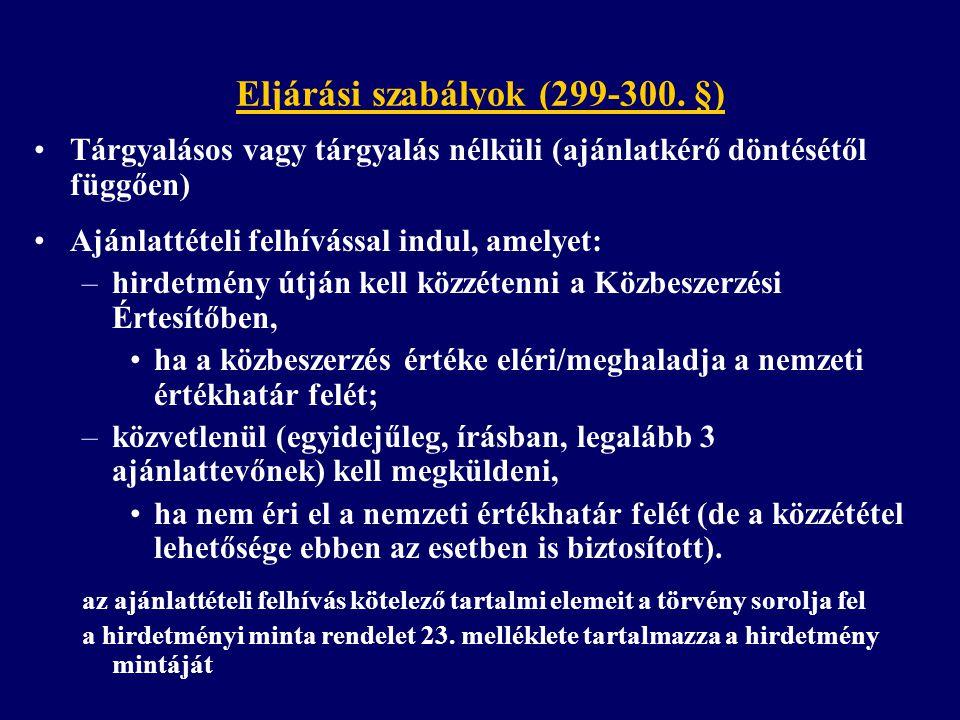Eljárási szabályok (299-300. §)