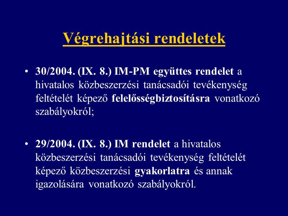 Végrehajtási rendeletek