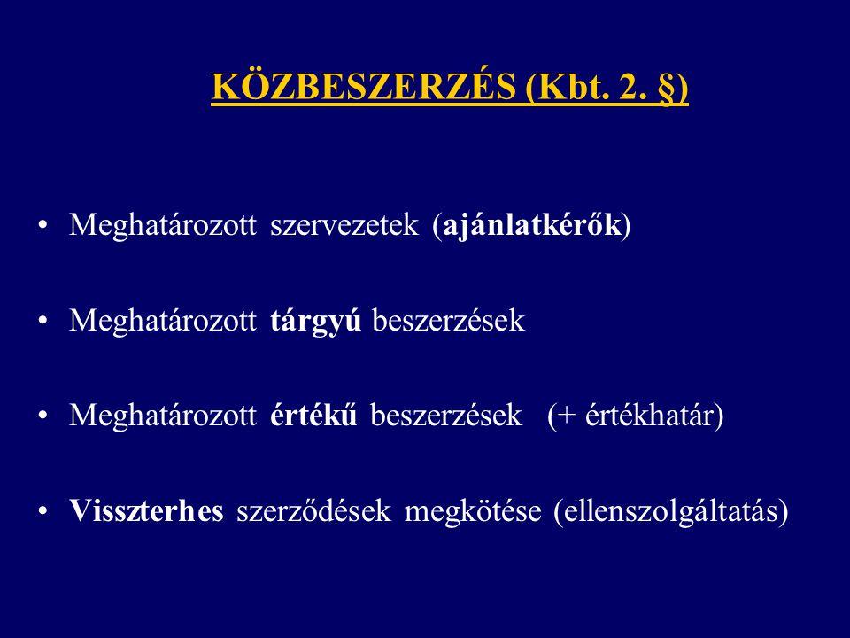 KÖZBESZERZÉS (Kbt. 2. §) Meghatározott szervezetek (ajánlatkérők)
