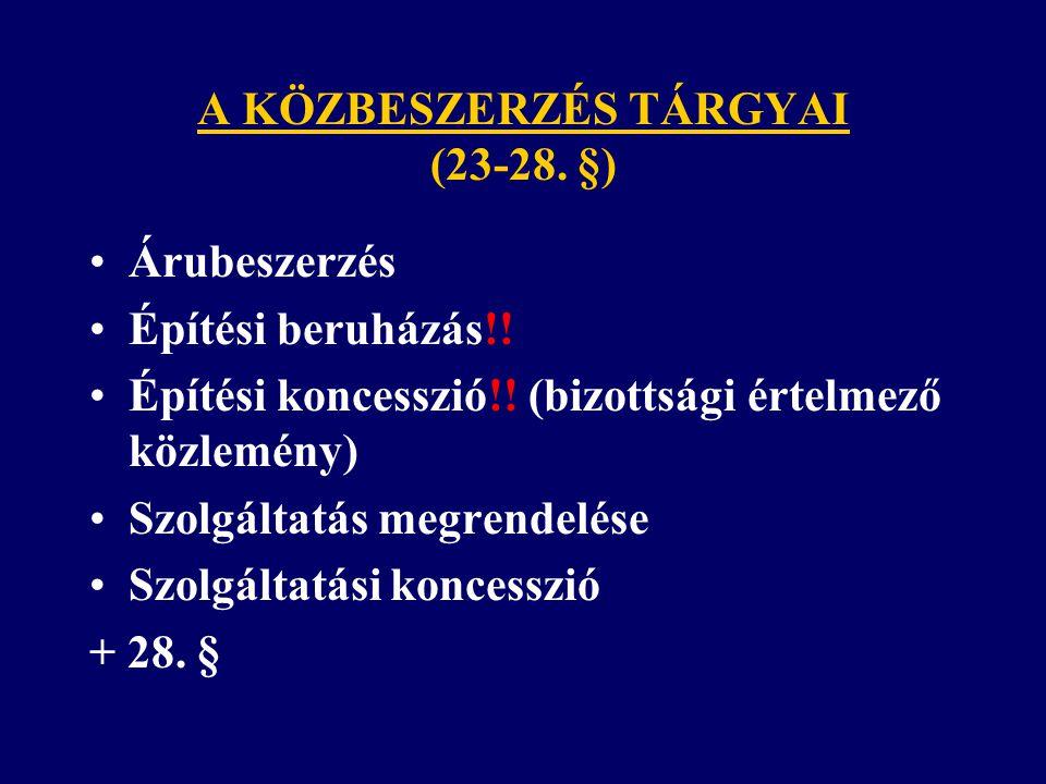 A KÖZBESZERZÉS TÁRGYAI (23-28. §)