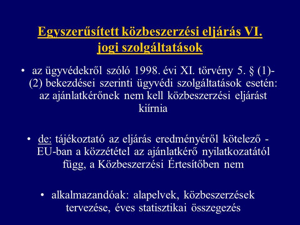 Egyszerűsített közbeszerzési eljárás VI. jogi szolgáltatások