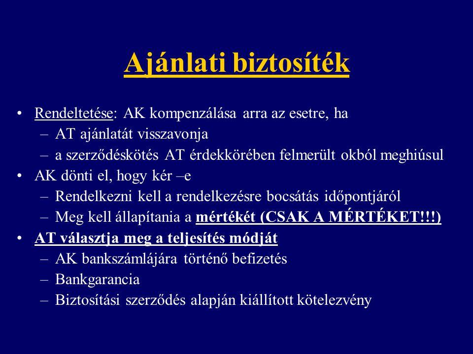 Ajánlati biztosíték Rendeltetése: AK kompenzálása arra az esetre, ha