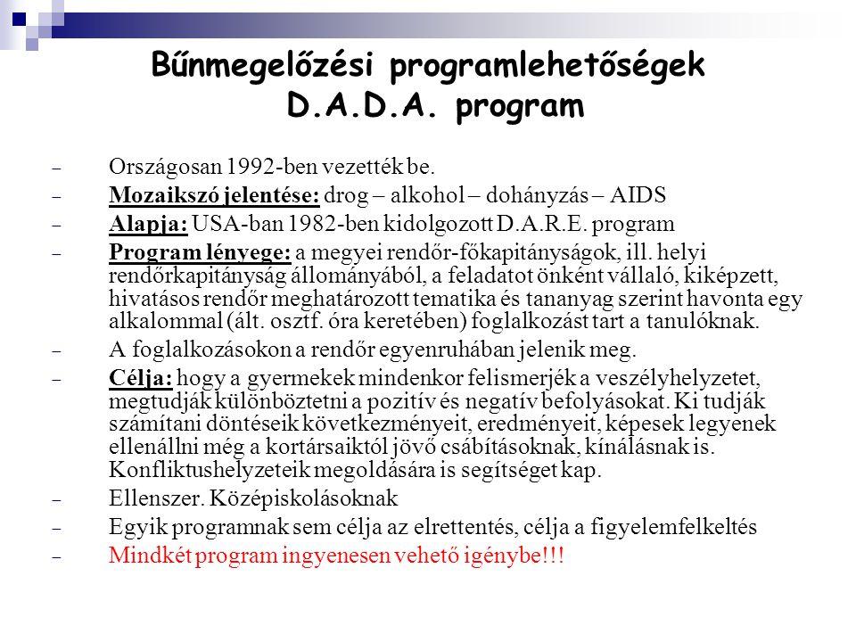 Bűnmegelőzési programlehetőségek D.A.D.A. program