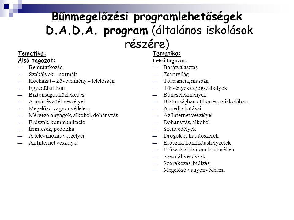 Bűnmegelőzési programlehetőségek D. A. D. A