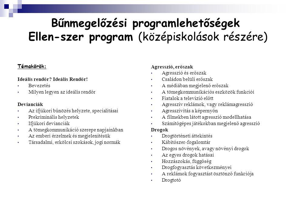 Bűnmegelőzési programlehetőségek Ellen-szer program (középiskolások részére)