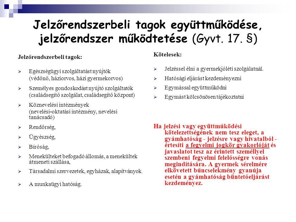 Jelzőrendszerbeli tagok együttműködése, jelzőrendszer működtetése (Gyvt. 17. §)