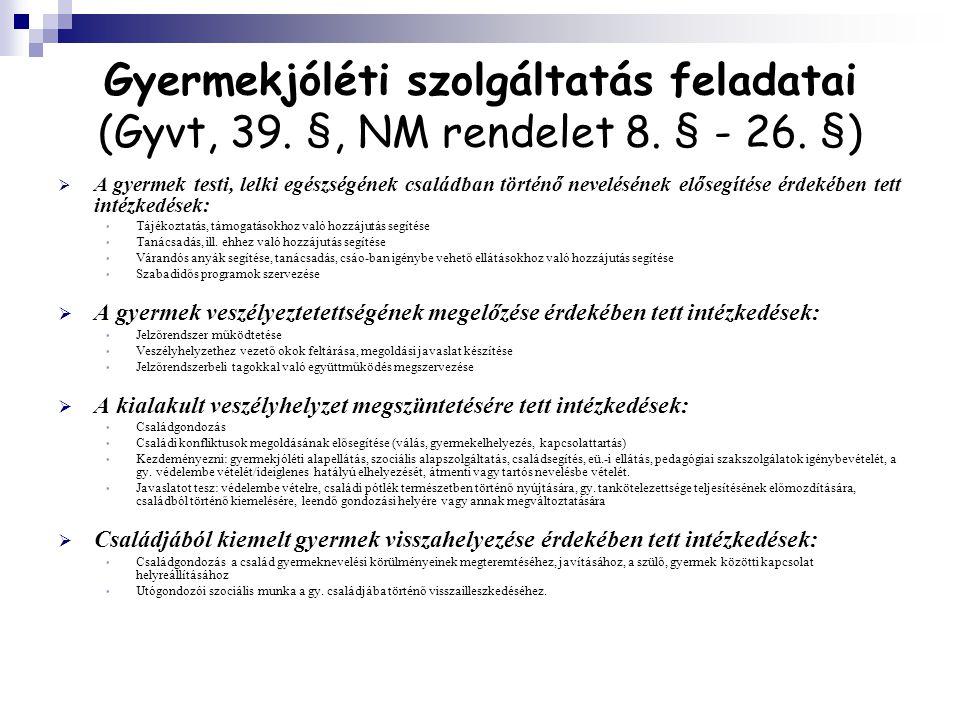 Gyermekjóléti szolgáltatás feladatai (Gyvt, 39. §, NM rendelet 8
