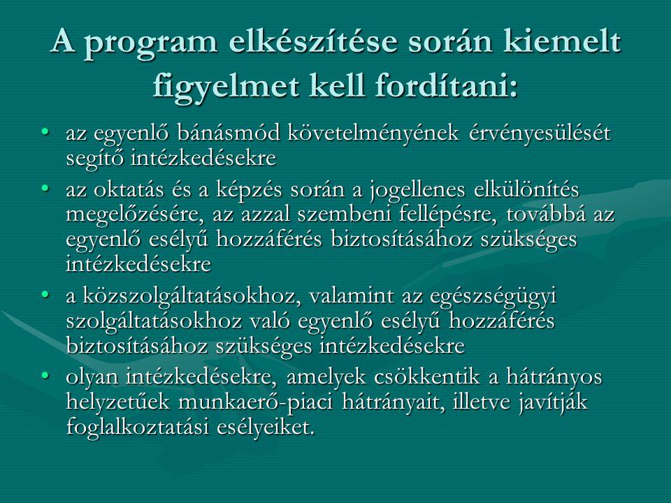 A program elkészítése során kiemelt figyelmet kell fordítani: