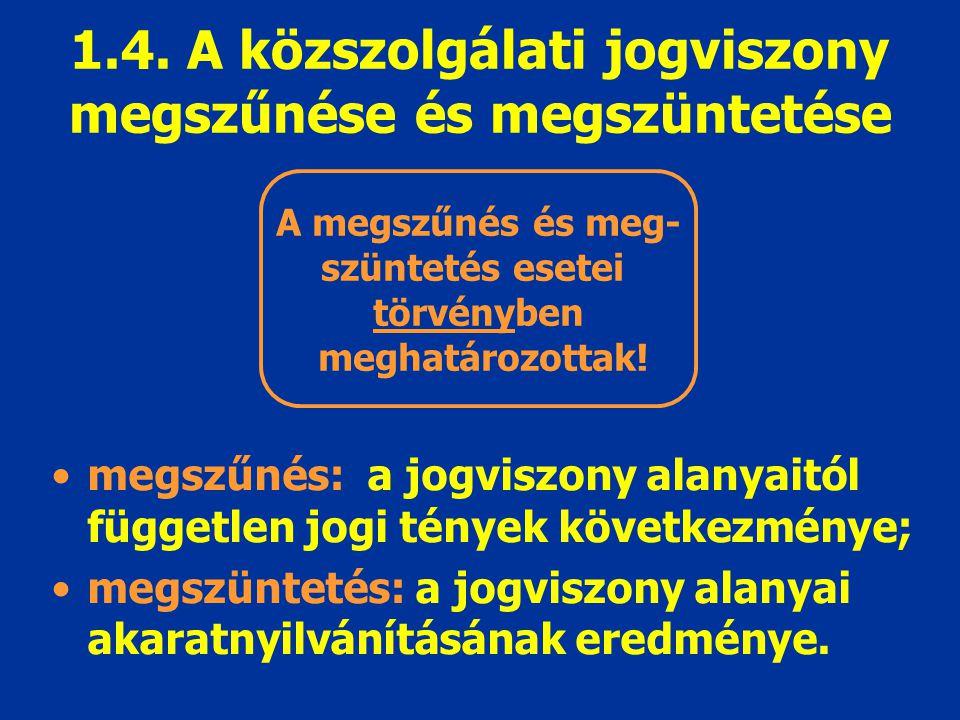 1.4. A közszolgálati jogviszony megszűnése és megszüntetése