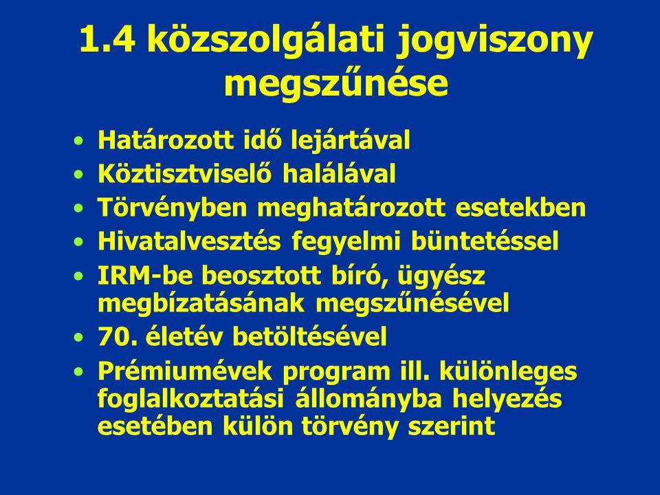 1.4 közszolgálati jogviszony megszűnése