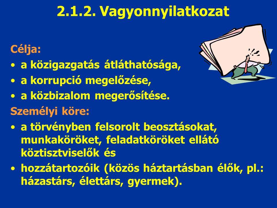 2.1.2. Vagyonnyilatkozat Célja: a közigazgatás átláthatósága,
