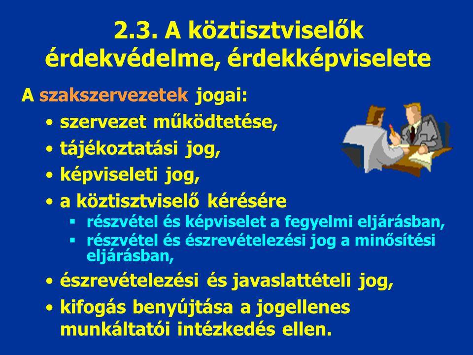 2.3. A köztisztviselők érdekvédelme, érdekképviselete