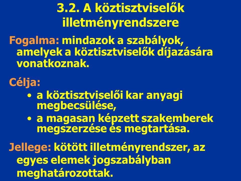 3.2. A köztisztviselők illetményrendszere