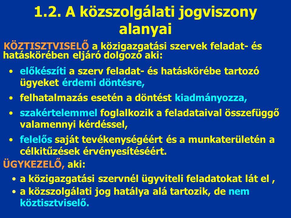 1.2. A közszolgálati jogviszony alanyai
