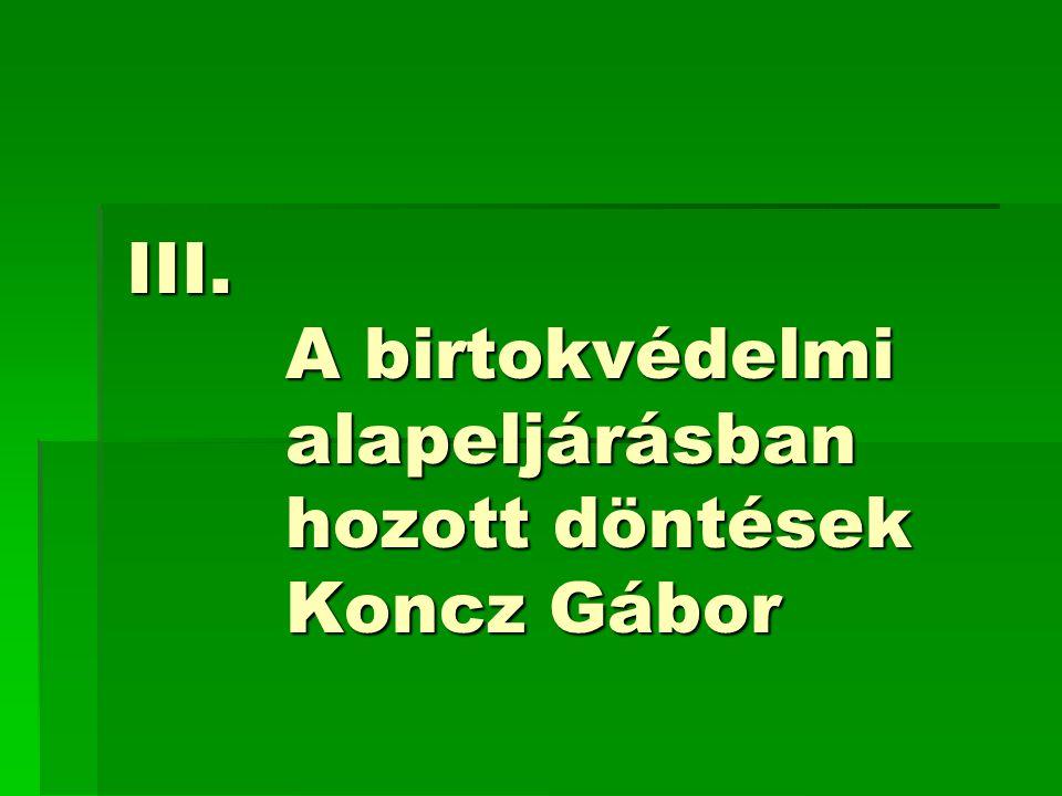 A birtokvédelmi alapeljárásban hozott döntések Koncz Gábor