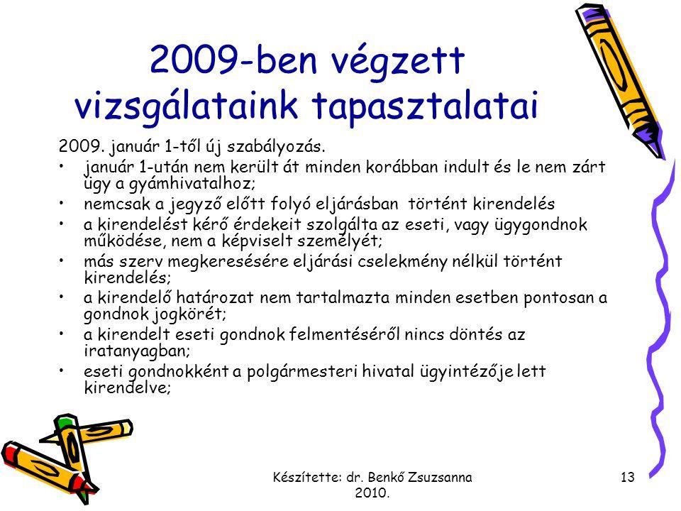 2009-ben végzett vizsgálataink tapasztalatai