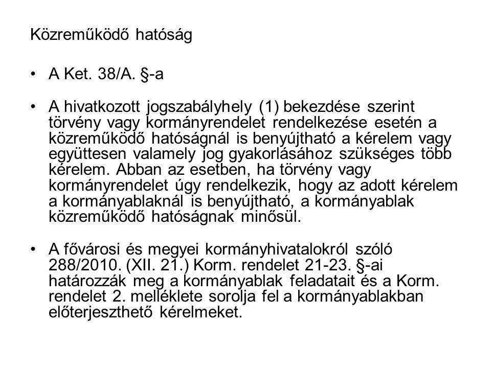 Közreműködő hatóság A Ket. 38/A. §-a.