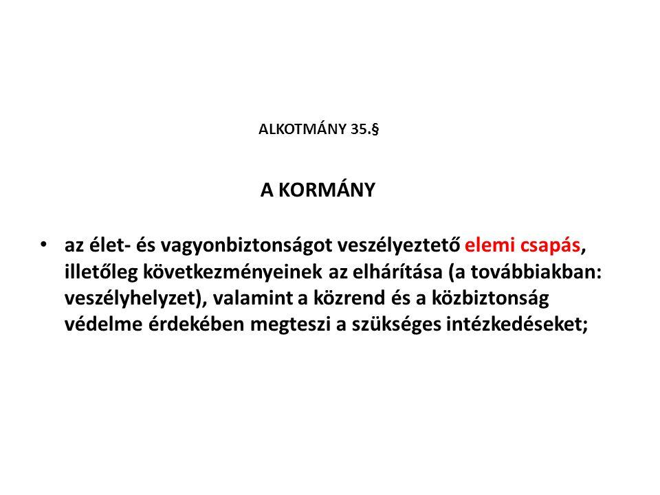ALKOTMÁNY 35.§ A KORMÁNY.