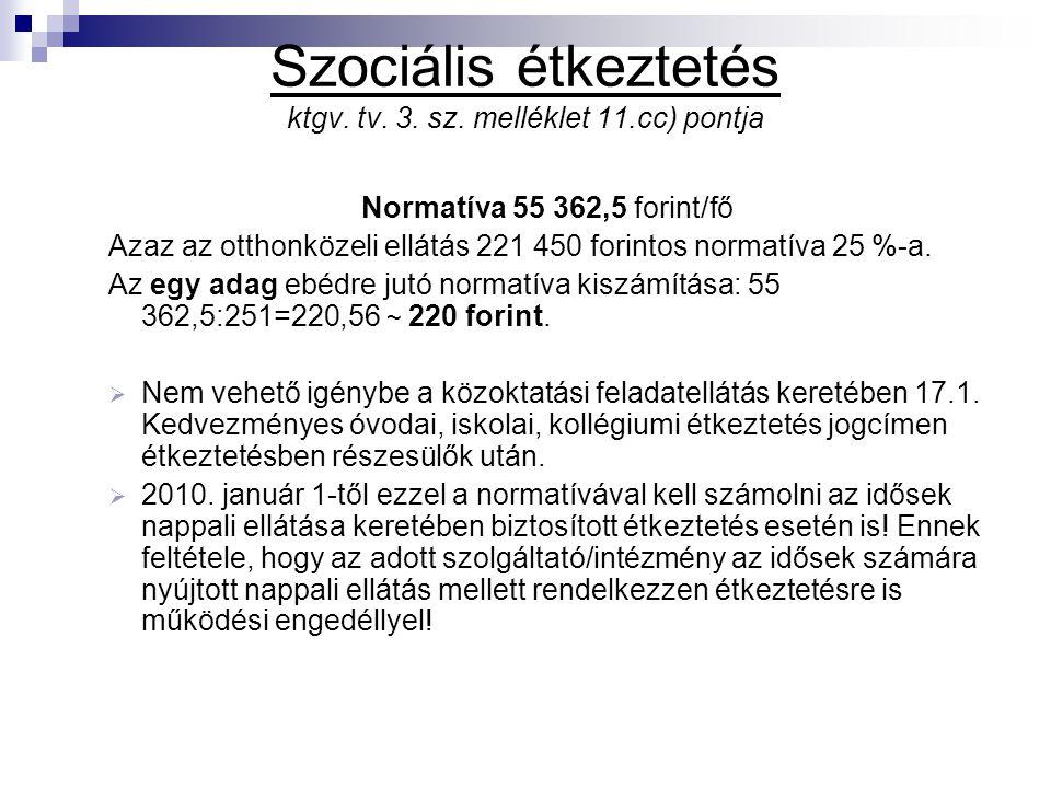 Szociális étkeztetés ktgv. tv. 3. sz. melléklet 11.cc) pontja