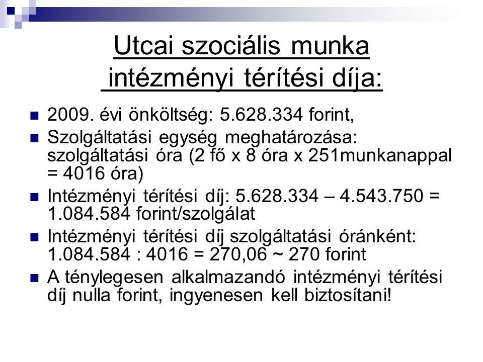 Utcai szociális munka intézményi térítési díja:
