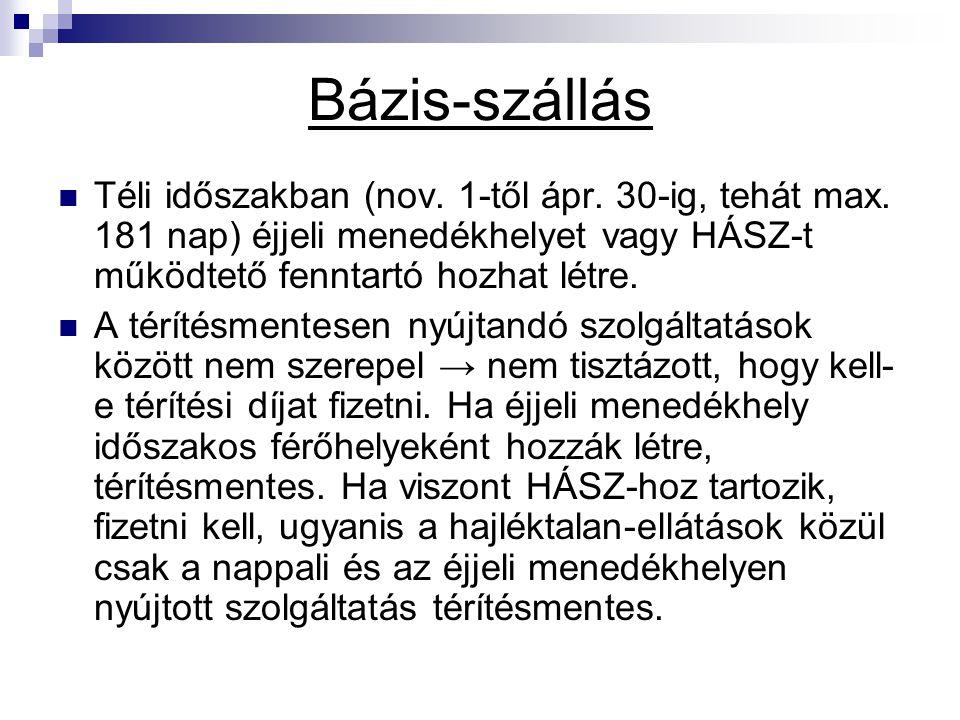 Bázis-szállás Téli időszakban (nov. 1-től ápr. 30-ig, tehát max. 181 nap) éjjeli menedékhelyet vagy HÁSZ-t működtető fenntartó hozhat létre.