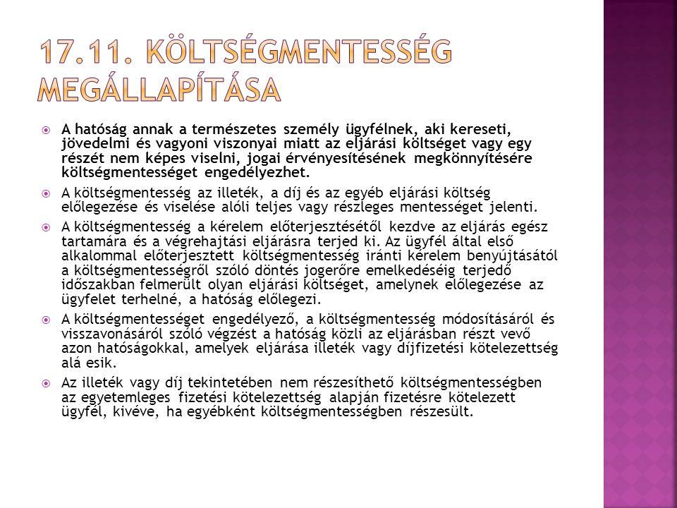 17.11. Költségmentesség megállapítása