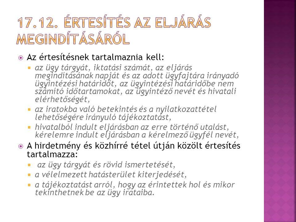 17.12. értesítés az eljárás megindításáról