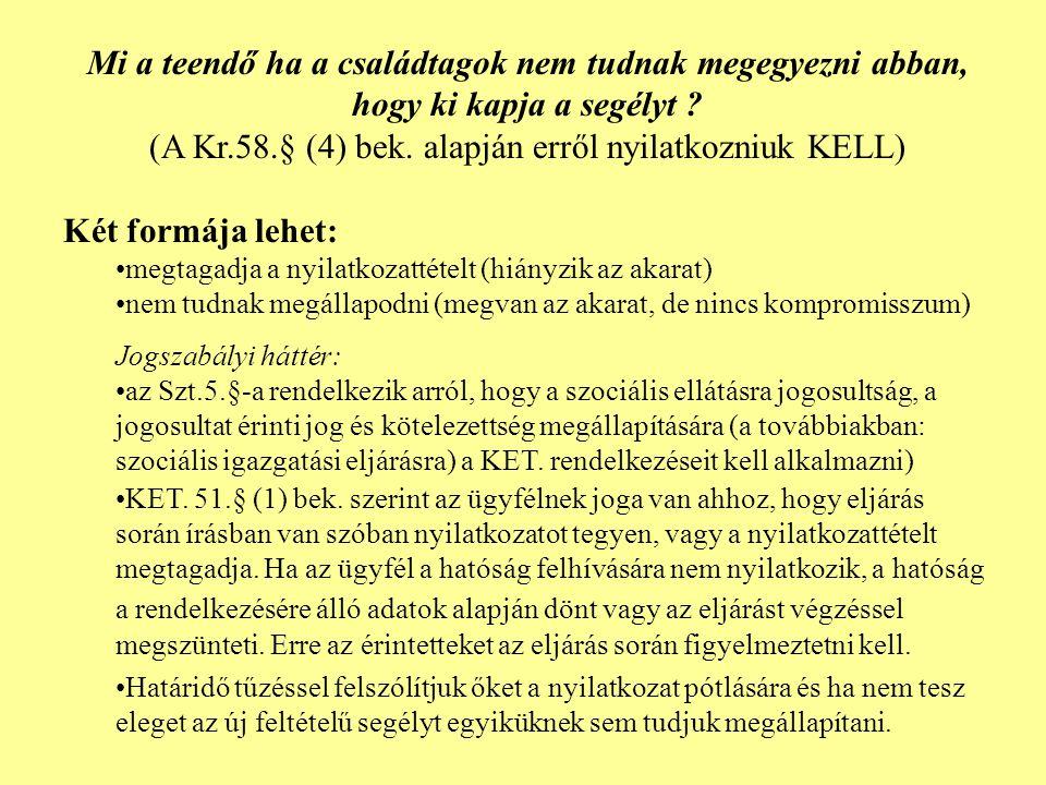 (A Kr.58.§ (4) bek. alapján erről nyilatkozniuk KELL)