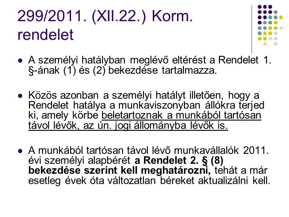 299/2011. (XII.22.) Korm. rendelet A személyi hatályban meglévő eltérést a Rendelet 1. §-ának (1) és (2) bekezdése tartalmazza.