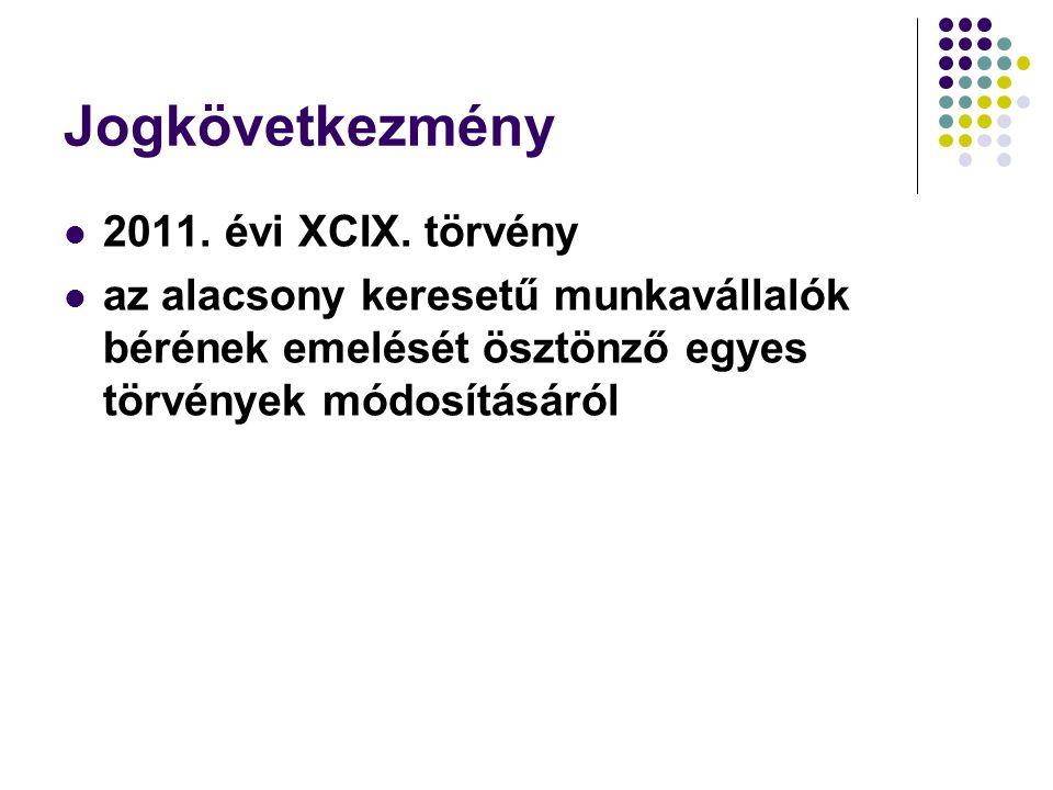 Jogkövetkezmény 2011. évi XCIX. törvény