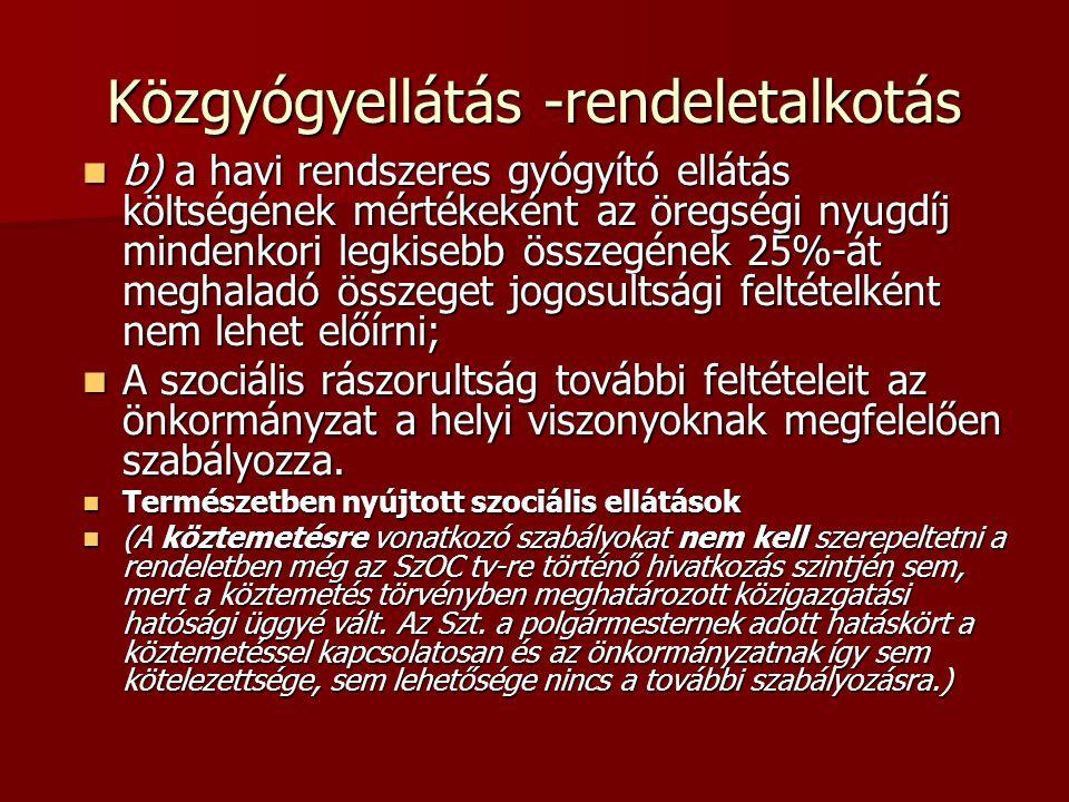 Közgyógyellátás -rendeletalkotás